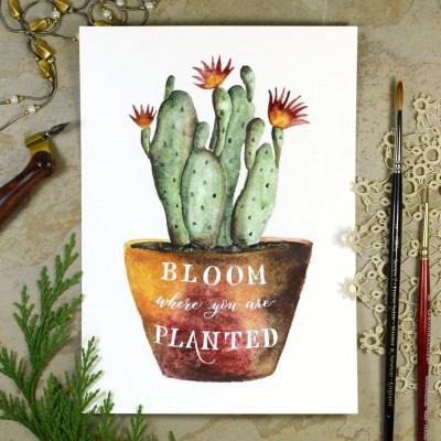 Watercolor Cactus + Quote Artwork Tutorial