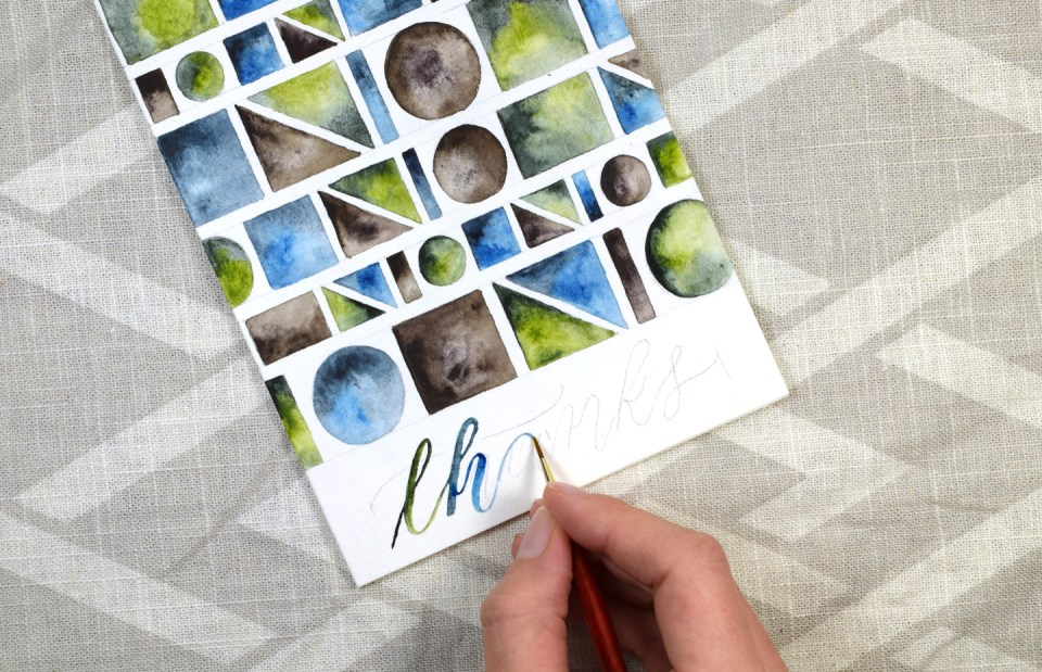 Geometric Watercolor Thank You Card Tutorial | The Postman's Knock