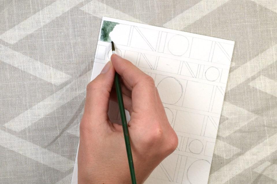 Geometric Watercolor Thank You Card Tutorial | The Postman's Knock