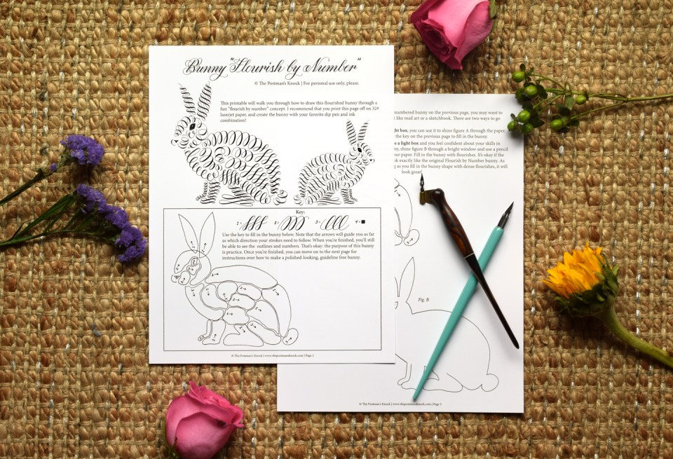 "Free Printable ""Flourish by Number"" Bunny 