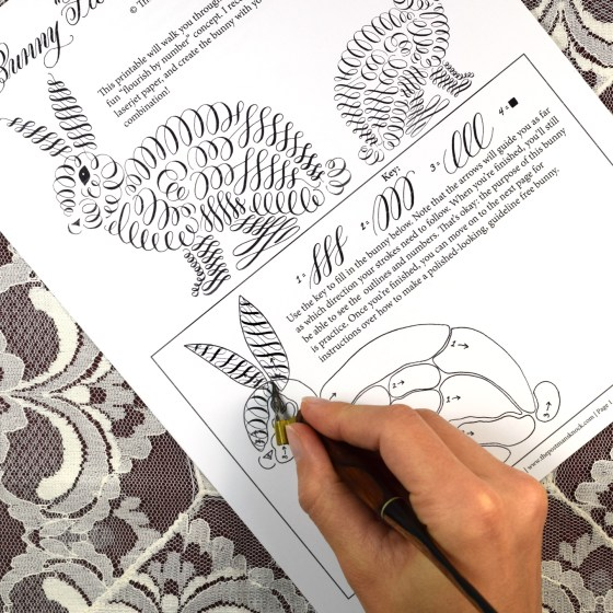 """Fill out the """"flourish by number"""" for some quality calligraphy practice!"""
