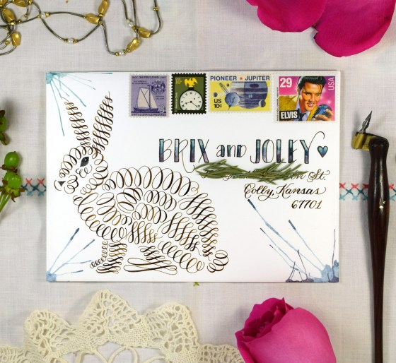 This bunny makes a fantastic addition to mail art!