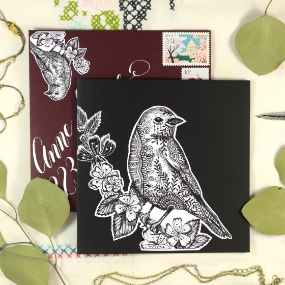 Simple Henna Bluebird Greeting Card