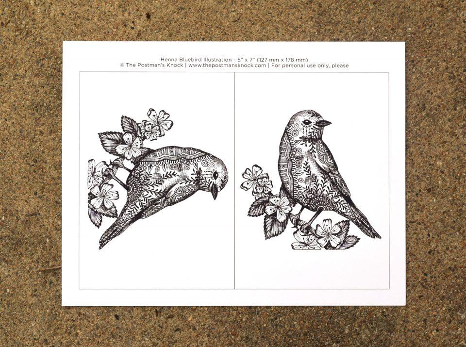 Henna Bluebird Illustration + Card Tutorial   The Postman's Knock