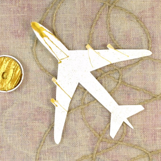 Airplane Outline with Gold Watercolor