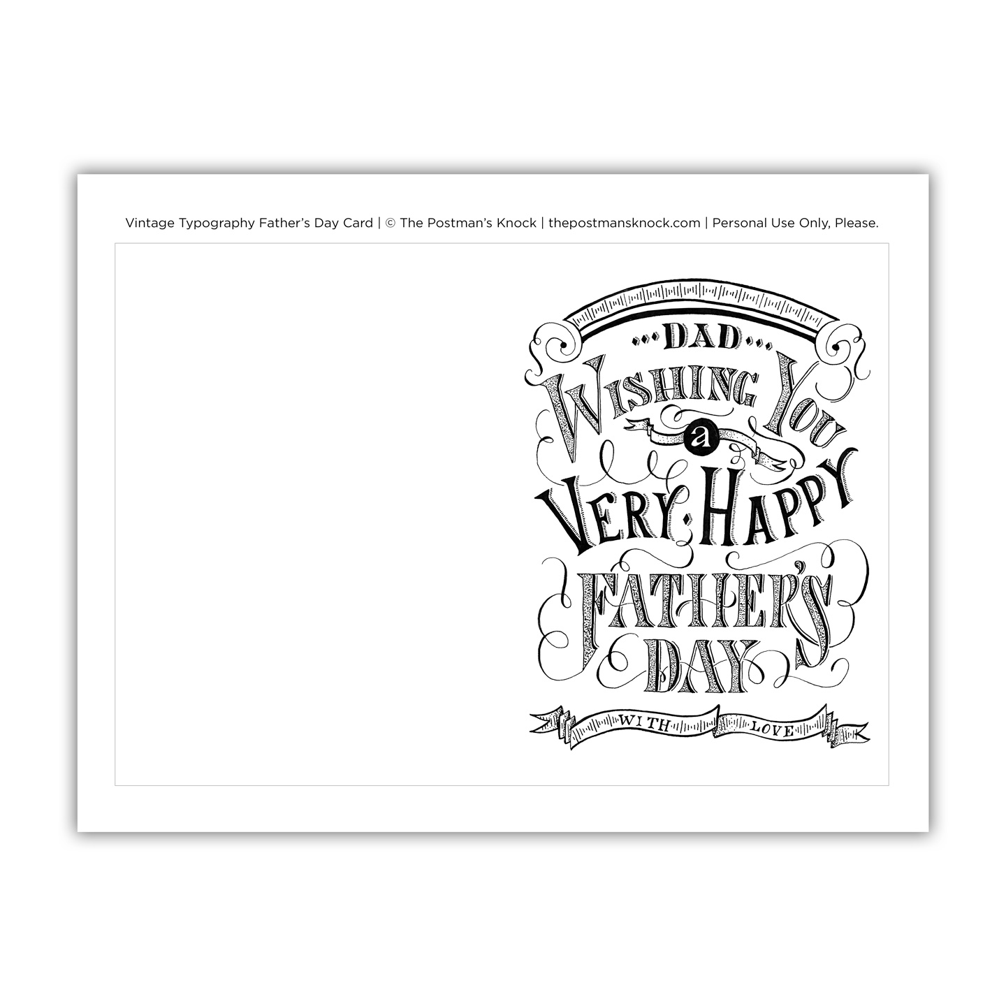 image relating to Printable Fathers Day Cards to Color known as Typical Typography Fathers Working day Card