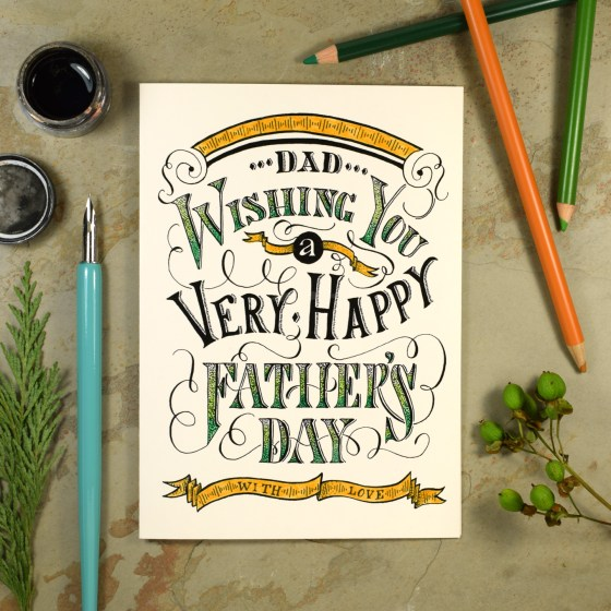 Finished Vintage Typography Father's Day Card (Printed on Cardstock + Colored with Colored Pencil)