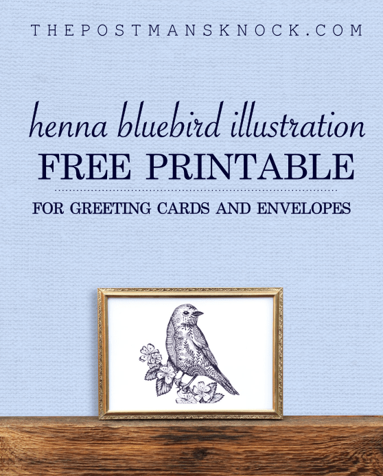 Printable Henna Bluebird Illustration + Card Tutorial   The Postman's Knock
