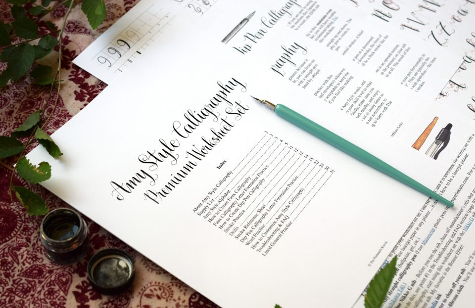 Printable Amy Style Calligraphy Worksheet Set | The Postman's Knock