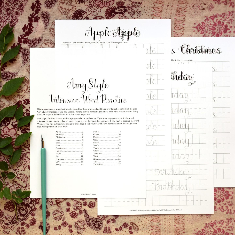 Premium Calligraphy Worksheet Set Amy Style The Postmans Knock