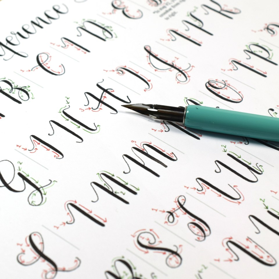 As is the case with all TPK Learn Calligraphy Worksheets, this Amy Style set includes a detailed Stroke Reference Sheet. The Stroke Reference Sheet meticulously breaks down how to create each letter.