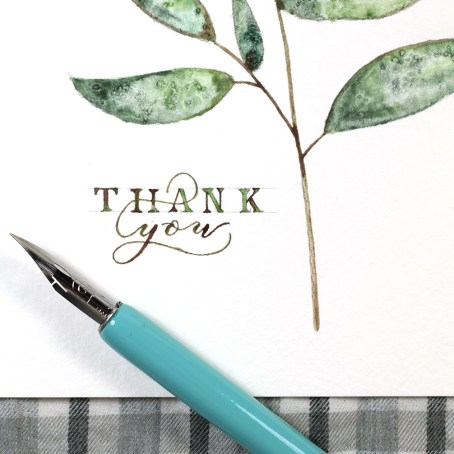 Simple Twig Watercolor Thank You Card Tutorial   The Postman's Knock