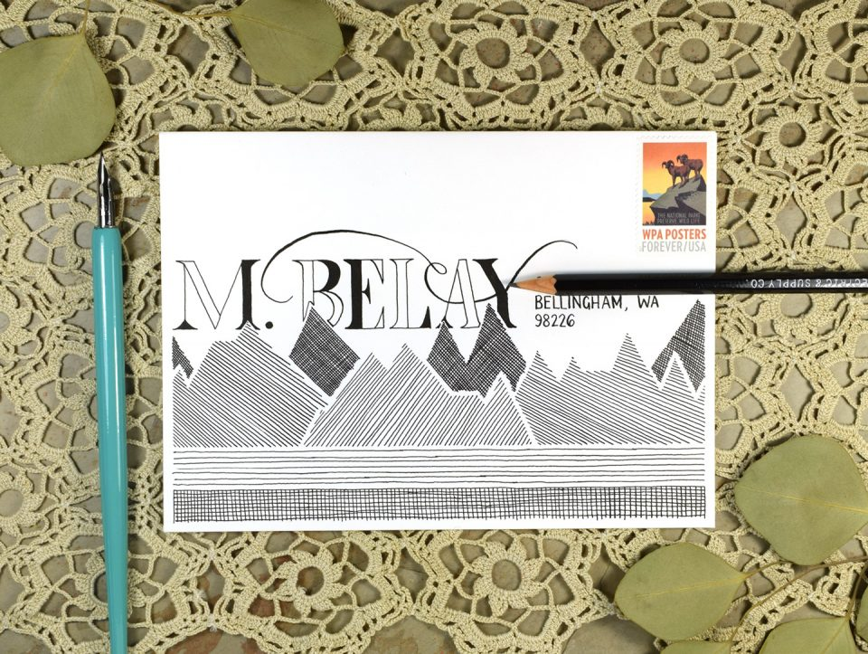Monochrome Mountains Mail Art Tutorial + Free Printable | The Postman's Knock