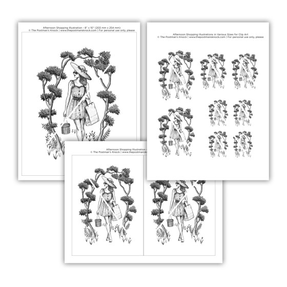 "Once you purchase, you will receive three high-resolution PDF files. The first PDF features this illustration in size 8""x10"", the second has two identical 5""x7"" versions of the illustration, and the third features the illustration in three different sizes for uses such as decoupage."