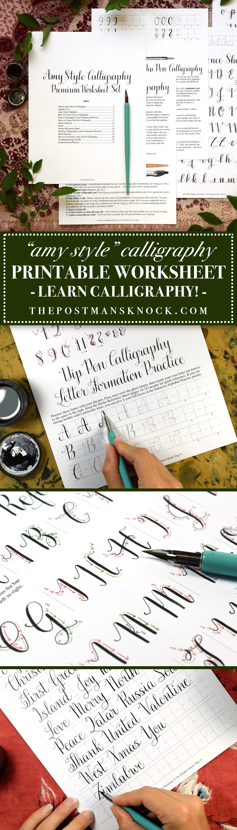 Introducing the New Amy Style Calligraphy Worksheet | The Postman's Knock