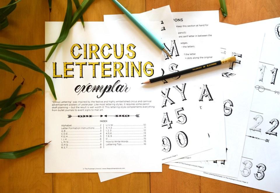 Circus Lettering Printable Exemplar + Video Tutorial | The Postman's Knock