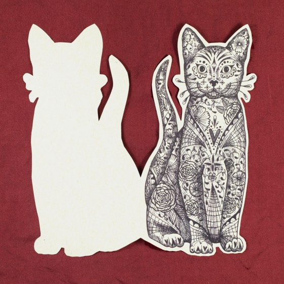 """The 3""""x7"""" cat fits beautifully in an A7 envelope. Make it into a Halloween greeting card!"""