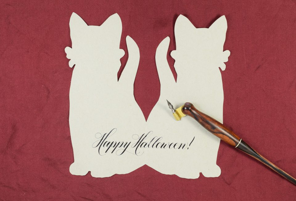 Happy Halloween Sugar Skull Cat Card  The Postman's Knock