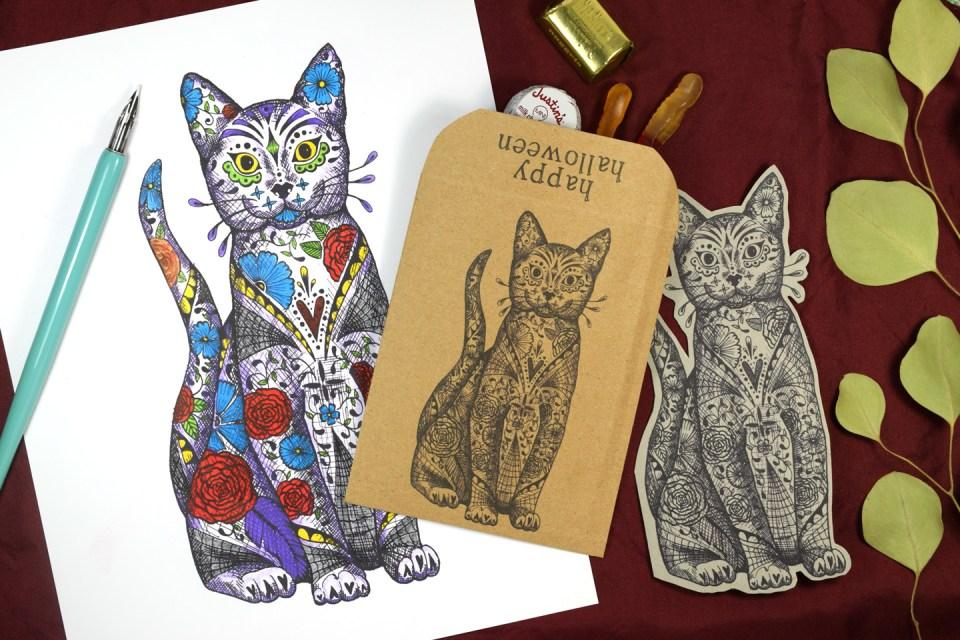 """Sugar Skull"" Cat Halloween Printables | The Postman's Knock"