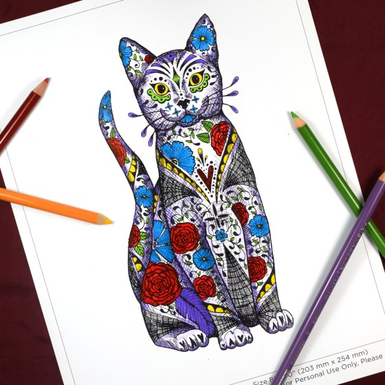"The 8""x10"" cat is great for coloring!"