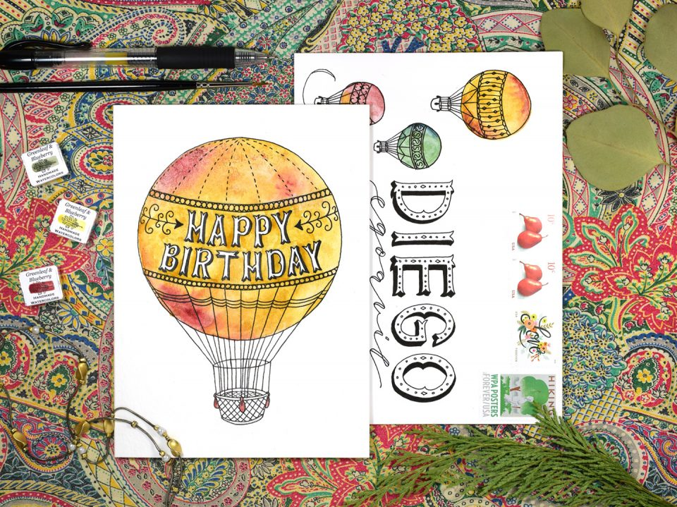 Hot Air Balloon Birthday Card + Matching Envelope Tutorial | The Postman's Knock