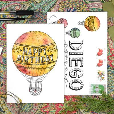Hot Air Balloon Birthday Card + Matching Envelope Tutorial
