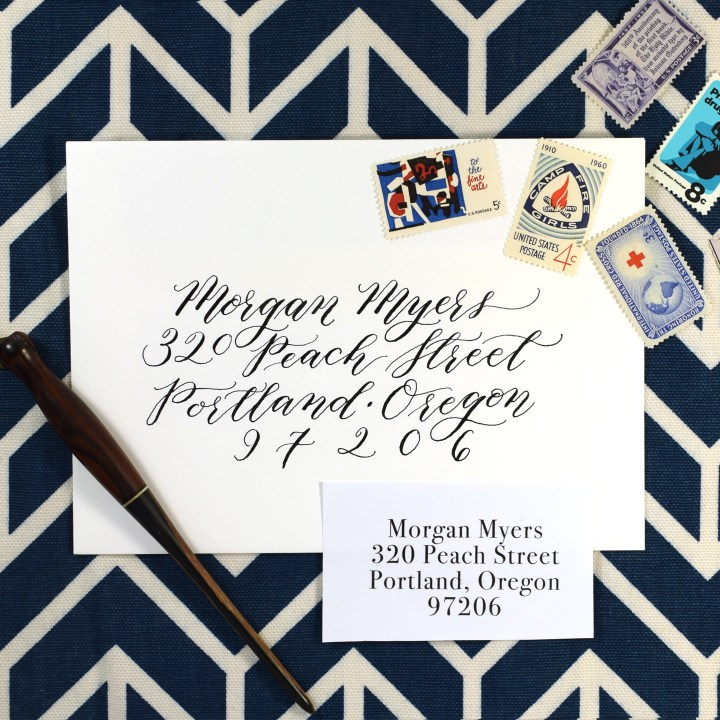 Kaitlin Style envelopes are easy to address -- especially if you have a word processor nearby that can center justify text! I'll show you how to make an envelope quickly in this course.