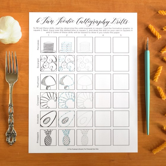"Six ""Fun Foodie"" Printable Calligraphy Drills"