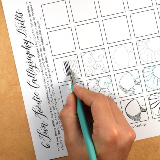 "Six ""Fun Foodie"" Printable Calligraphy Drills"