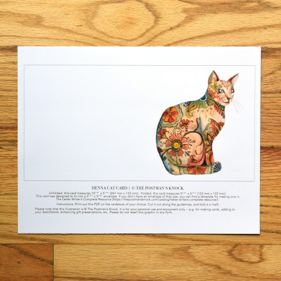 """Try printing the card templates out on 100# cardstock. Each printout includes guidelines so you know where to cut out the card! The henna cat card shown here is 5.25"""" x 5.25""""."""