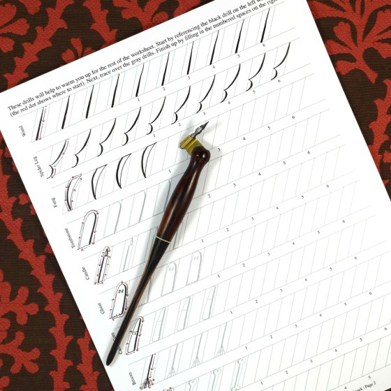 This calligraphy drills packet starts with some basic characters to warm you up.