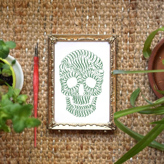 The flourished skull makes for great home décor!