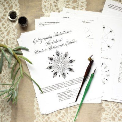 Introducing the Calligraphy Medallions Worksheet: Birds & Botanicals Edition