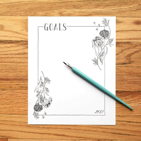 """This goal list is size 8""""x10"""". Once you print it out, cut along the outside guidelines (not pictured)!"""