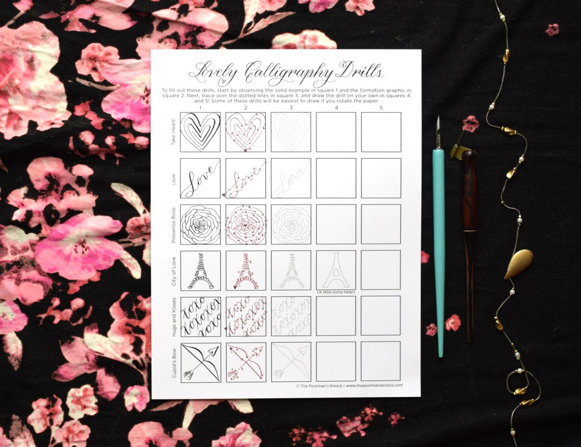 "Printable ""Lovely Calligraphy Drills"" for Valentine's Day 