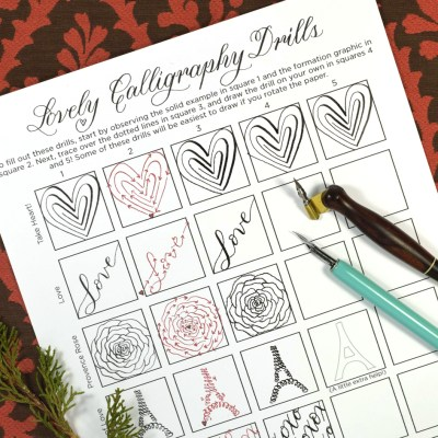 """Printable """"Lovely Calligraphy Drills"""" for Valentine's Day"""