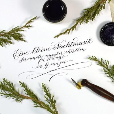 """Eine kleine Nachtmusik"" Calligraphy – A Relaxing YouTube Video"