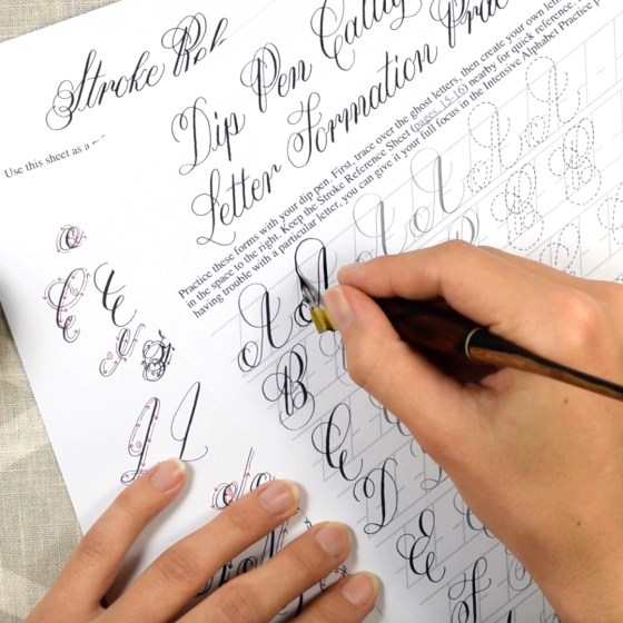 In this video course, we'll work through the Janet Style Calligraphy worksheet set together.