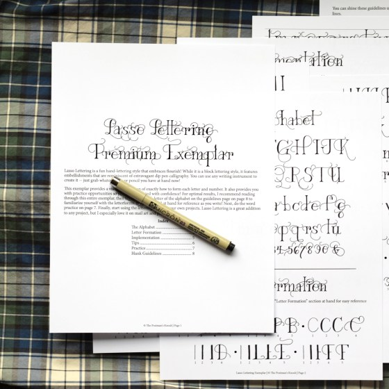 """This 8-page printable exemplar will teach you how to write """"Lasso Lettering"""""""