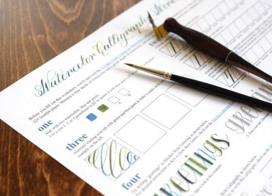 Free Printable Watercolor Calligraphy Worksheet