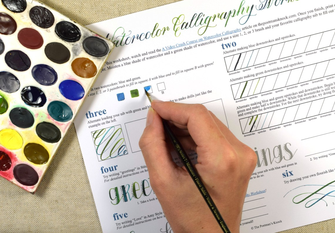 A (Free!) Watercolor Calligraphy Worksheet | The Postman's Knock