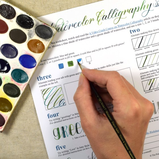 Free Printable Watercolor Calligraphy Worksheet