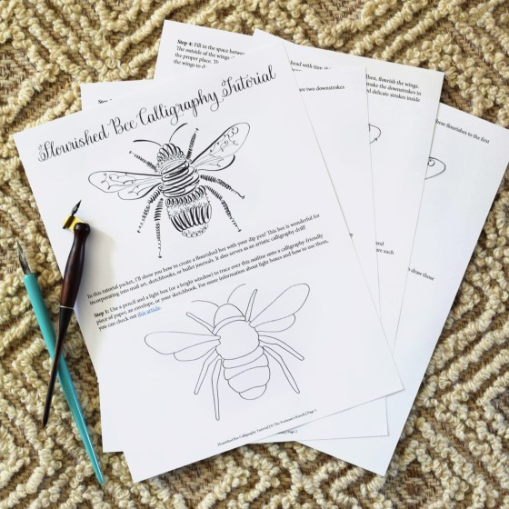 This Flourished Bee Calligraphy Tutorial is a free four-page packet of instructions!