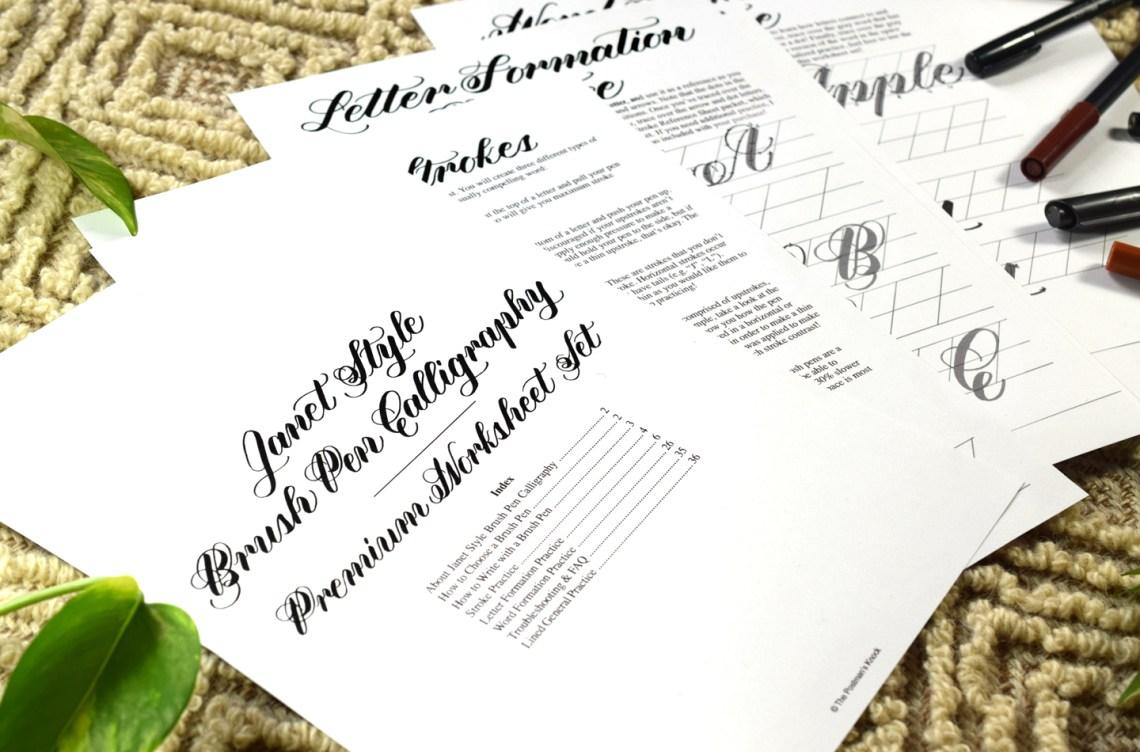 Janet Style Brush Pen Calligraphy Worksheet | The Postman's Knock