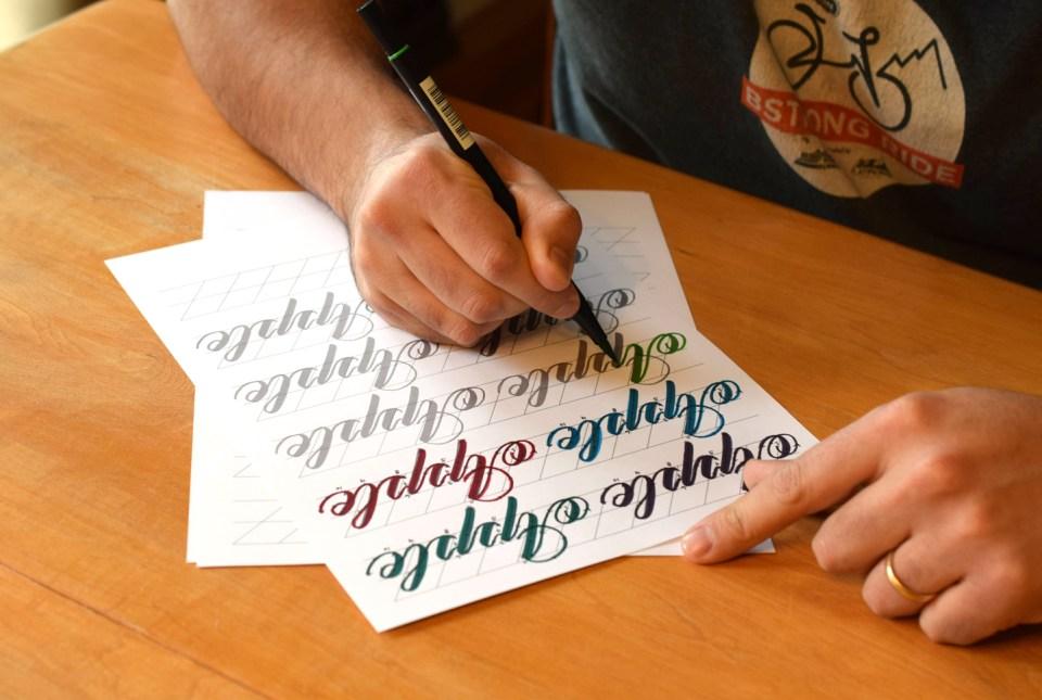 Janet Style Brush Pen Calligraphy Worksheet Set | The Postman's Knock