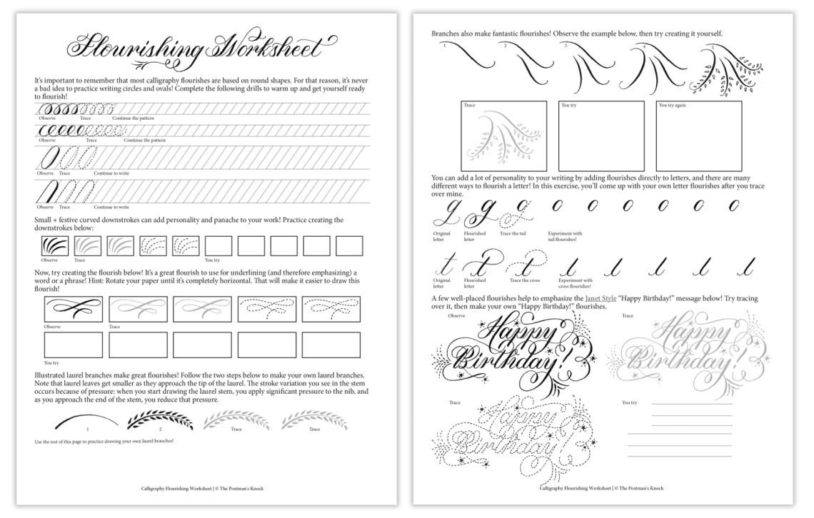 Free Calligraphy Flourishing Worksheet | The Postman's Knock