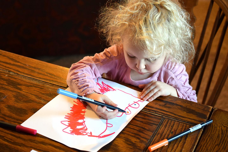 My niece enjoying Tombow Brush Pens!