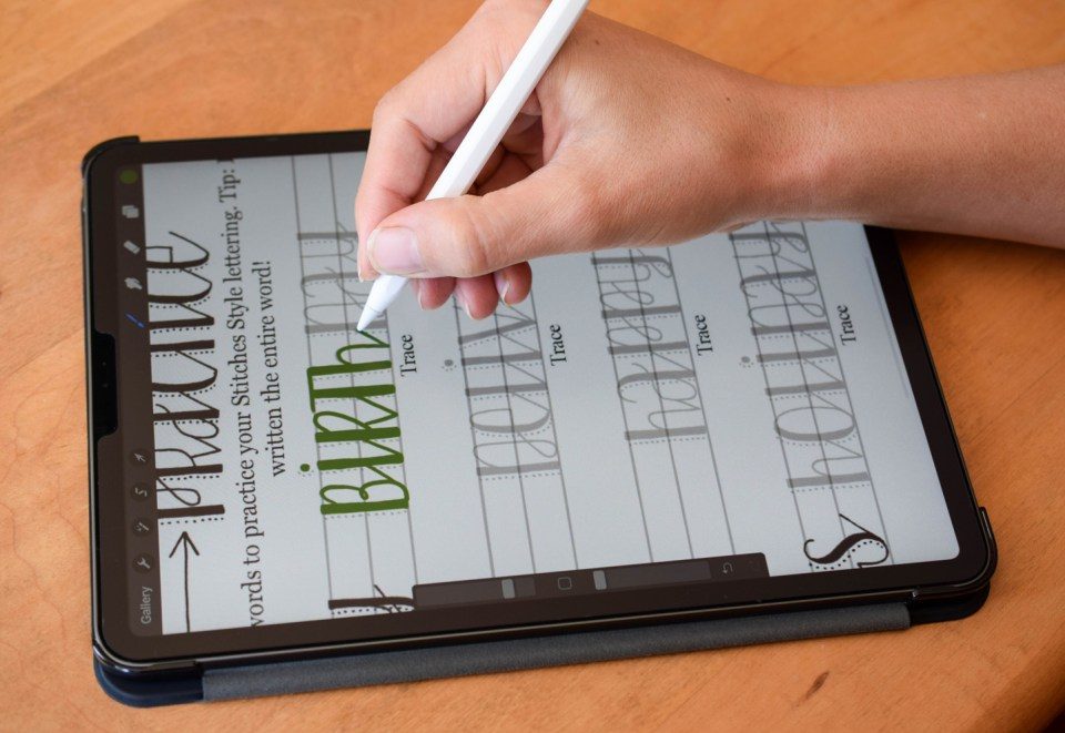 Stitches Hand Lettering Procreate Worksheet | The Postman's Knock