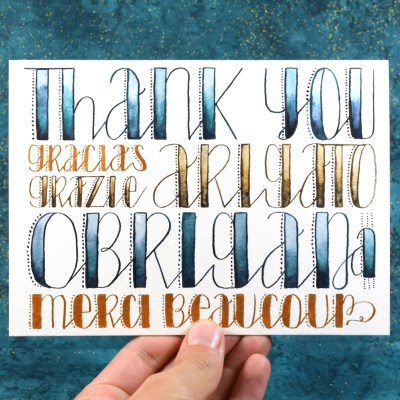 """Stitches"" Hand-Lettered Thank You Card Tutorial"