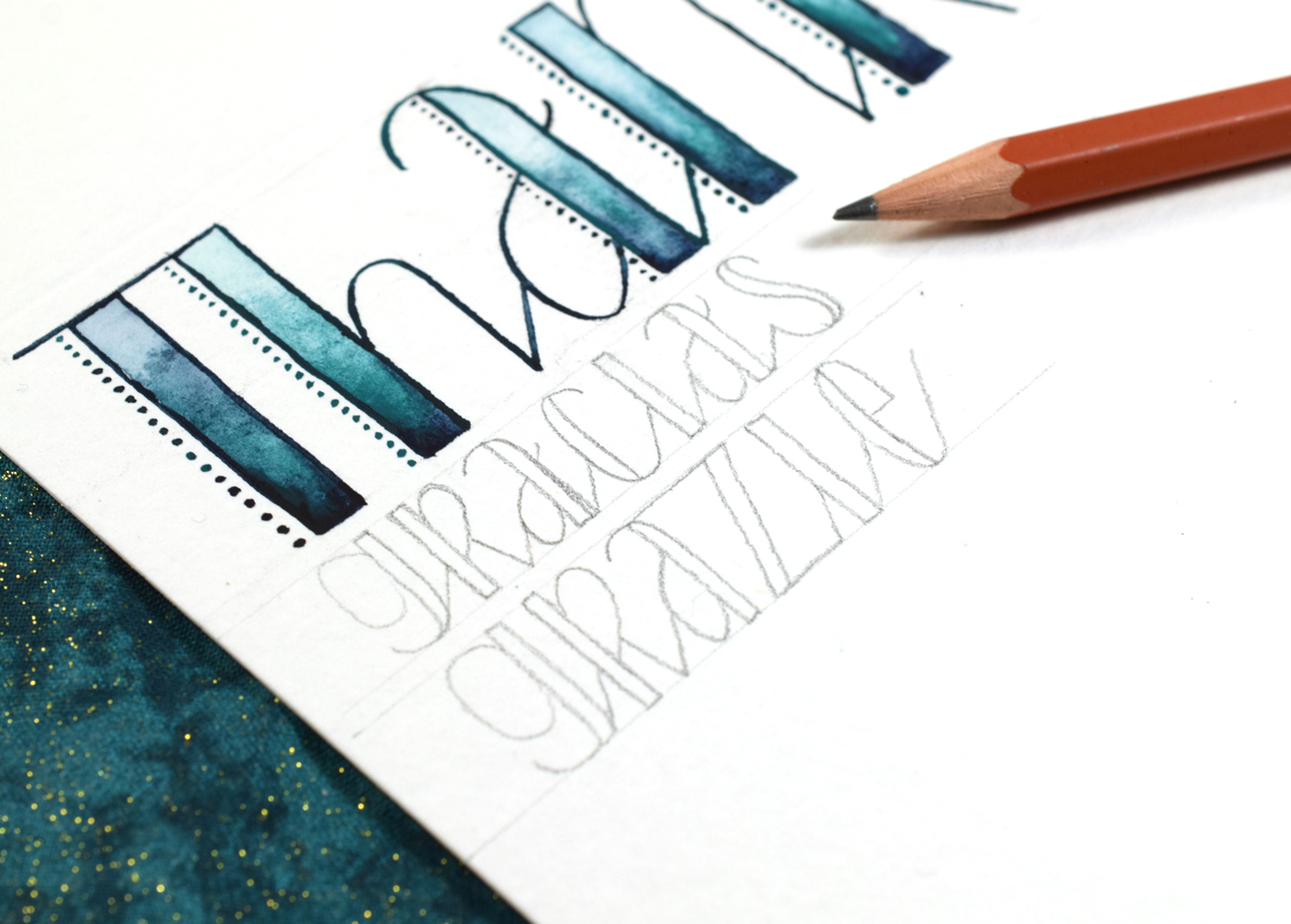 """""""Stitches"""" Hand Lettered Thank You Card Tutorial 